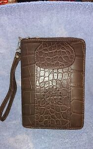 Power Planner Faux Brown Leather Agenda Business Organizer W Cell Phone Pouch