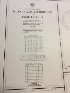 Vintage Nautical Chart Of Cook Islands