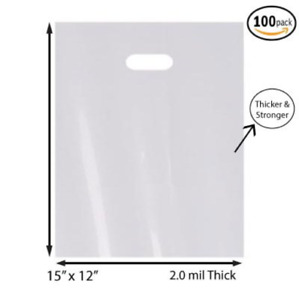 100 Pack 12 X 15 With 2 Mil Thick White Merchandise Plastic Glossy Retail Bags