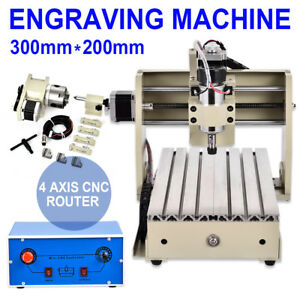 Cnc 4 Axis 3020 Router Engraver Milling Machine Engraving Drilling Mach3 Desktop