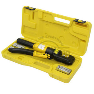 Yqk70 Hydraulic Pliers Battery Cable Lug Press Crimper Crimping Tool 9 Dies 10t