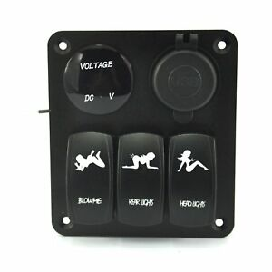 Quwei Waterproof Marine boat Car Switch Panel 3 Gang With 1 Charger With 2 Usb S