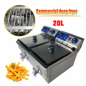 Us 20l Commercial Electric Deep Fryer Twin Frying Basket Chip Cooker Fry Timer