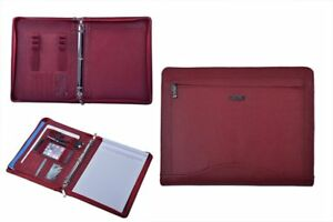 Leather Binder Portfolio Organizer Padfolio With 3 ring Binder For Letter Paper