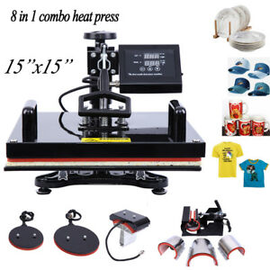 15 x15 8 In 1 T shirt Heat Press Machine Sublimation Transfer For Mug Plate Hat