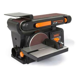 Benchtop Belt Disc Sander Combo Band Electric Power Circular Stationary Table