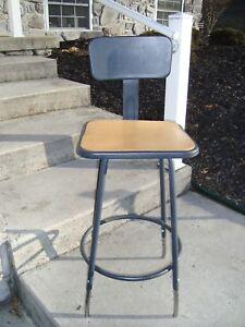 Industrial Machine Age Steam Punk Machinists Metal Shop Chair Stool Back