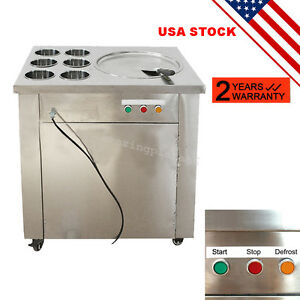 Portable Commercial Fried Ice Cream Machine 1 Pan 6 Boxes Ice Crean Roll Making