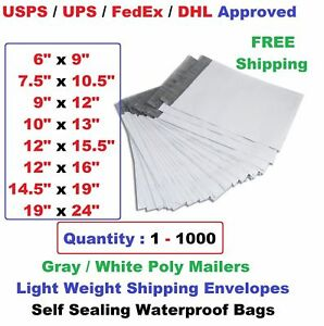 Poly Mailers Shipping Envelopes Self Sealing Plastic Mailing Bags All Size