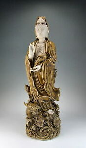 Chinese Antique Yellow Glazed Porcelain Kuanyin Buddha Statue On Sea Dragon