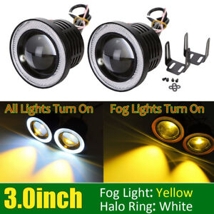 Universal 3 inch Yellow Fog Lights Bumper Driving Lamps W White Halo Ring Drl