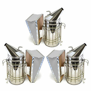Set Of 3 Stainless Bee Hive Smoker Steel With Heat Shield Beekeeping Equipment