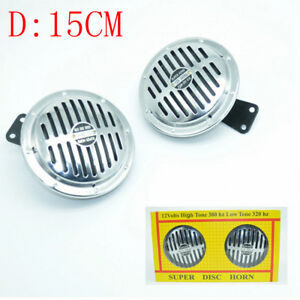15cm 2pcs Super Loud Blast Tone Grill Mount 12v Electric Compact Car Horn
