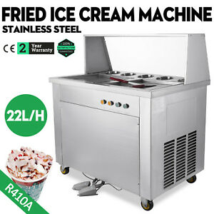 Thai Hot Fried Ice Cream Machine Double Pans 5 Boxes Yogurt Ice Maker Roll 22l h