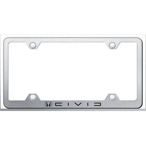 Honda Civic Reverse C Name On Brushed Steel Wide Body License Plate Frame