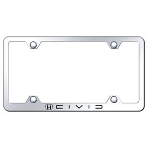 Honda Civic Reverse C Name On Stainless Steel Wide Body License Plate Frame