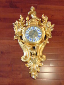 Antique 19th C French Ormolu G Philippe Palais Royale Gilded Bronze Wall Clock
