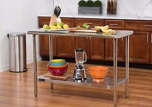 Stainless Steel Kitchen Cart Island Cutting Board Counter Top Work Table Prep
