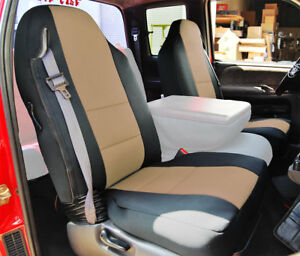 Dodge Ram 1500 2500 3500 1998 2002 Black beige Vinyl Custom Front Seat Covers