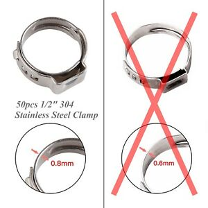 50pcs 1 2 Stainless Steel Ear Pex Clamp Cinch Rings Crimp Pinch Fitting Pex 304