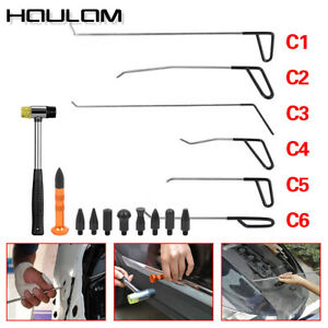 6x Pdr Tools Rods Dent Puller Stainless Steel Paintless Repair Hammer 9 Head