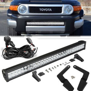Fit 07 14 Toyota Cruiser Fj 32 180w Led Light Bar Hidden Lower Bumper Combo Kit
