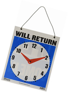 Bazic 7 5 x9 will Return Clock Sign W open Sign On Back case Of 24
