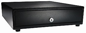 Apg Vasario Series Standard duty Cash Drawer Manual Push Button Black Pain