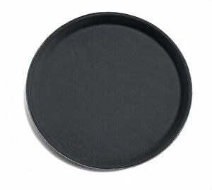 24937 Non slip Tray Plastic Rubber Lined Round 11 Inch Pack Of 12 Black