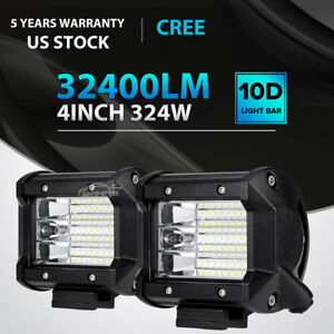 2x 324w 4 inch Led Work Light Bar Pod Flood Beam Offroad Fog Driving Car Backup