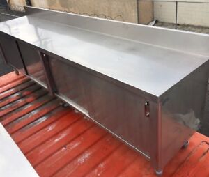10 Stainless Steel Work Table With 5 Backsplash And Cabinet Base Sturdy