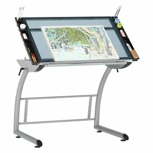 Studio Designs Triflex Drawing Standing And Drafting Table Silver blue Glass