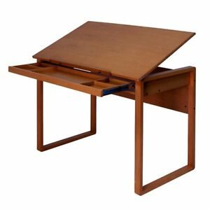 Studio Designs Ponderosa Wood Topped Drafting Table Brown