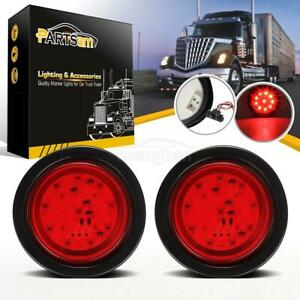 2pc Red 4 Round 10 Led Truck Trailer Brake Stop Turn Tail Lights W Grommet Plug