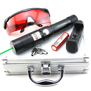 Gw1 532nm Green Laser Pointer Adjustable Focus Torch Battery charger goggles