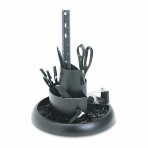 Rubbermaid 25001 Rotary Desk Organizer With Supplies Black
