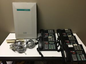 Nortel Norstar Compact 6x16 Dr5 ds System With 5 Phones And Cables