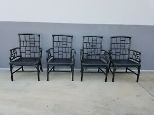 4 Stunning Chinese Chippendale Milling Road Baker Rattan Arm Chairs As Is
