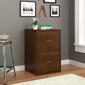 Brown File Cabinet Small Filing Office Home Organizer Storage W 2 Wood Drawers