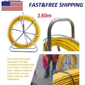 6mm Fiber Glass Wire Cable Snake Running Rod Duct Rodder Pull Electrician 130m