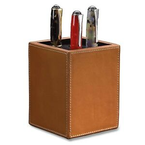 Levenger Morgan Leather Pen Cup Holder Desk Accessory Organizer Tan
