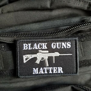 BLACK GUNS MATTER USA ARMY HOOK PATCH EMBROIDERED DARK OPS WHITE BADGE $6.99