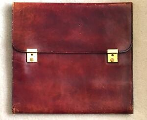 Old Vintage Red Oxblood Leather Notepad Portfolio Clipboard Distressed Organizer