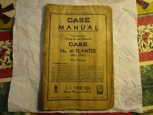 Rare antique case No 41 Tractor Planter Drill Only With Parts Catalog