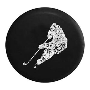 Distressed - Spare Tire Cover Hockey Player Skating with Puck Trailer