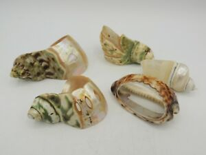 5 Antique Victorian Shell Napkin Rings Mother Of Pearl Signed 1 Carved 1900 S