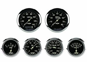 Classic Instruments Classic Series 6 Gauge Set Black Hot Rod 2 5 8 Kph