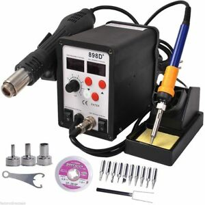2 In 1 Soldering Rework Station Smd Hot Air iron Gun Desoldering Welder 898d Ma