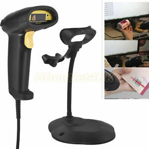 Usb Barcode Pos Scanner Handheld Laser Scan Upc Code Automatic Reader With Stand