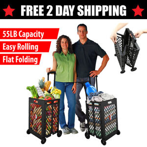 Xl Heavy Duty Flat Folding Shopping Cart Utility Grocery Laundry Double Basket